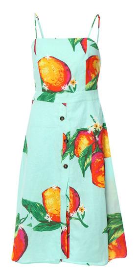 Vestido Midi De Mujer C&a Estampado Frutal