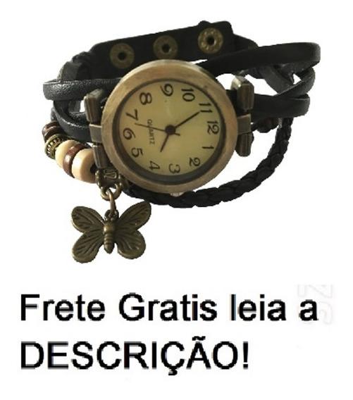 Relógio Pulseira Preta Com Pingente Feminino Frete Gratis