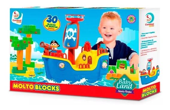 Brinquedo Barco Navio Pirata Com Blocos Baby Land Cardoso