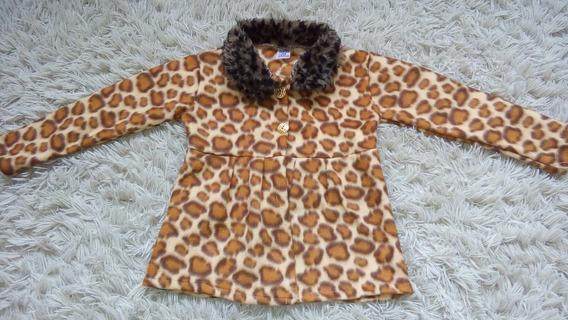 Sobretudo Infantil Menina Com Gola Peluciada - Leopardo