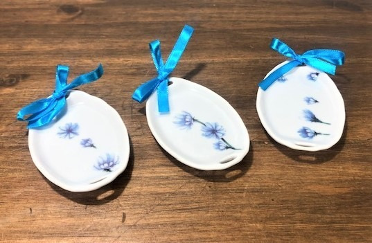 Kit 3 Mini Bandeja Porcelana Porta Anel Natal