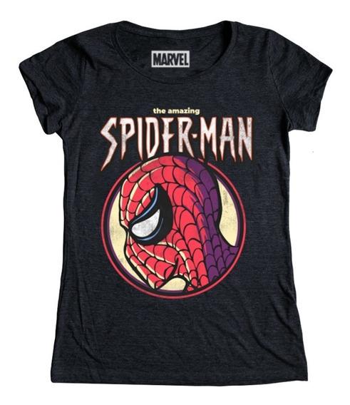 Vintage Spiderman Playera Mujer Marvel Máscara De Látex
