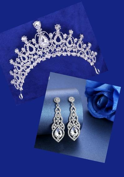 Coroa + Brinco Cristal Noivas E Debutantes 15 Anos Madrinhas