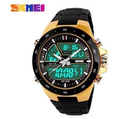 Relógio Masculino Dourado Skimei 1016 Led Digital Esportivo