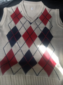 Colete Xadrez Escocês Pulover Infantil Lã Trico Tricot 4/6/8