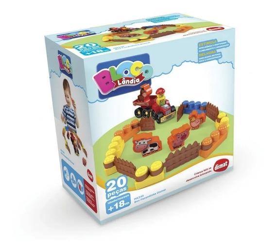 Brinquedo Educativo Blocos Montar Fazendinha 20 Peças Dismat