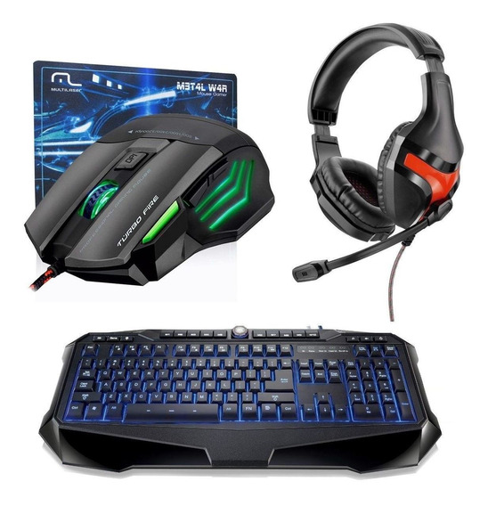Kit Gamer Macro Multilaser Headset+ Teclado Led+ Mouse Fire