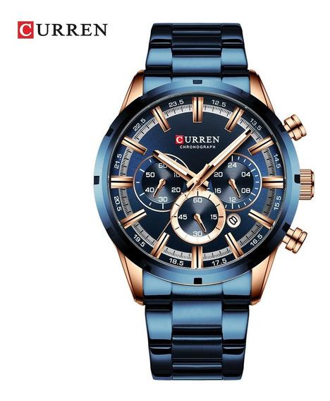 Relógio De Pulso De Quartzo Curren 8355 Azul