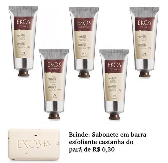 Promoção Natura Castanha 5 Cremes Maos 75g Brinde Sabonete