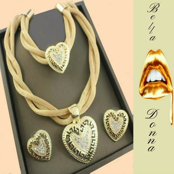 Bella Donna Conjunto Dourado Colar Brincos & Pulseira