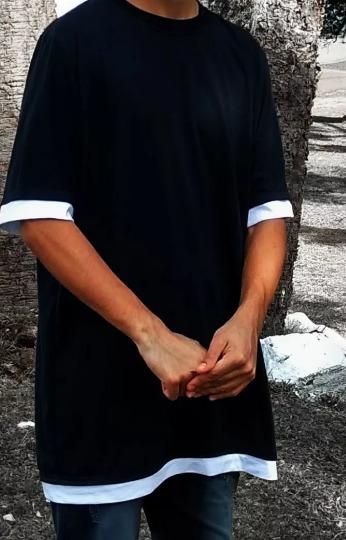 Camiseta Masculina Longline Oversized - Estilo Justin Bieber