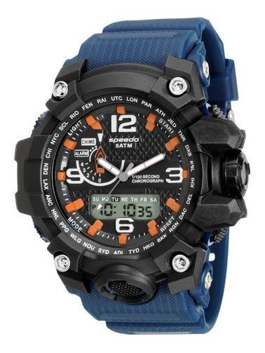 Relógio Masculino Preto E Azul Anadigi Speedo 81123g0evnp3