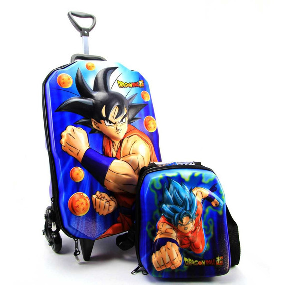 Mochila De Rodinha Dragon Ball 3d E Lancheira Maxtoy 2986m19