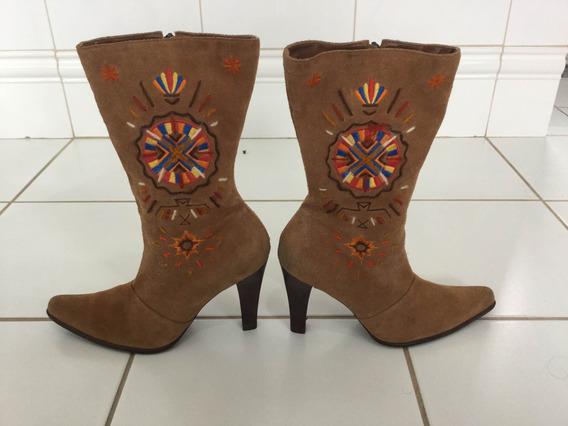 Bota Navajo Folk Country Boho Hippie Em Camurça