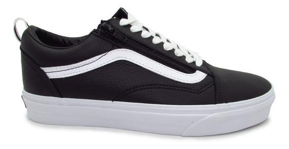 Tenis Vans Old Skool Zip Leather Vn0a3493l3a Black Piel