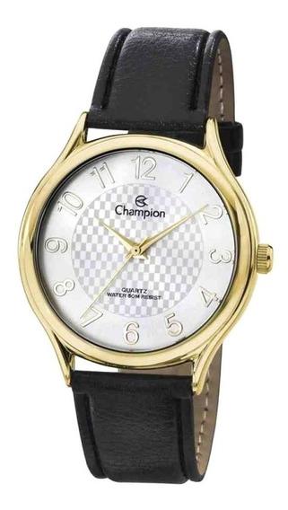 Relógio Feminino Champion Dourado Couro Preto Ch22706m