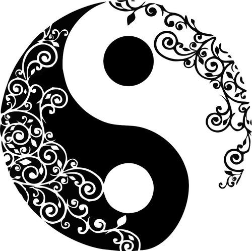 Vinilo Decorativo Mandala, Yin Yang, Paz 60x60cm