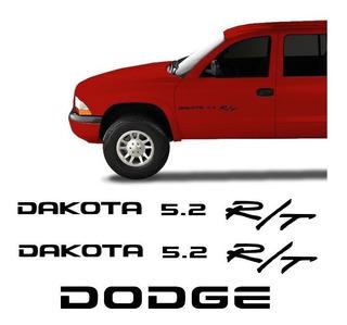Kit Adesivos Dakota 5.2 R/t Dodge Emblemas Laterais/traseiro
