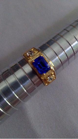 Anel Formatura Matemarica Pedra Azul Numero 28/29 Folh18k