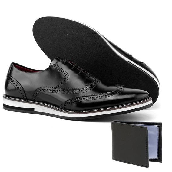 Sapato Oxford Invernizado Social Couro Legitimo + Brinde