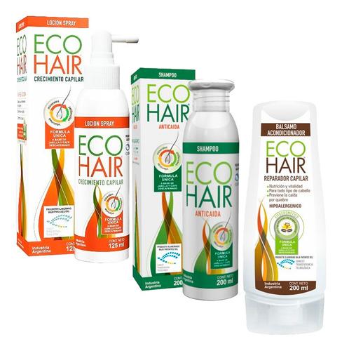 Combo Eco Hair Anticaida Crecimiento Cabello Locion+sham+aco