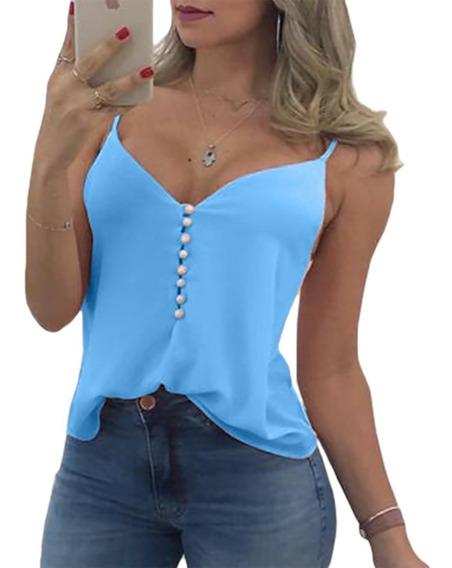 Regata Blusa Botoes Perolas Alça Feminina Moda Camiseta Moda