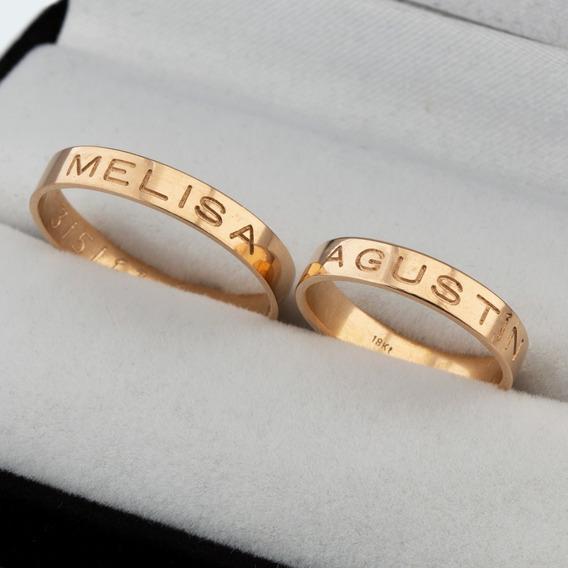 Par Alianzas Cinta Oro 18kts Grabado Externo