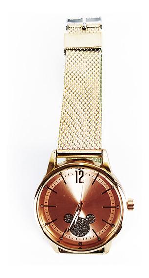 Relógio Feminino Efeito Metal Quartz Rose Disney Fashion