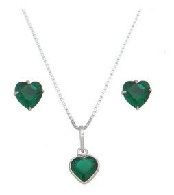 Cordão E Brinco Prata 925 Pedra Verde Embalagem Presente