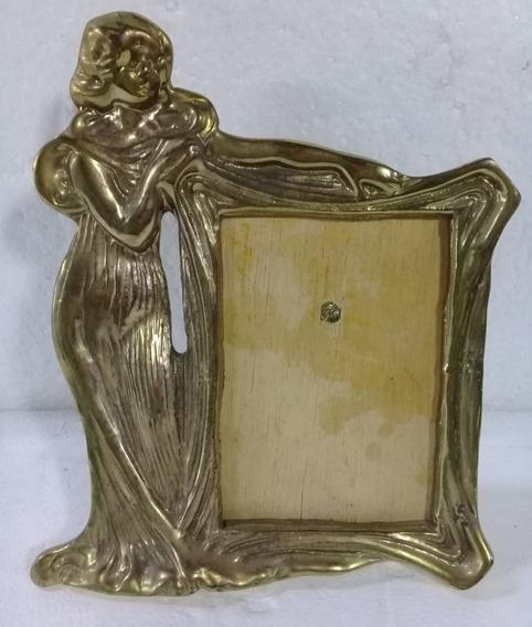 Porta Retrato Moldura C/mulher Em Bronze Maciço Frete 20,00