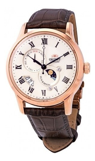 Reloj Orient Sol Y Luna Aut Versión 3 Safiro Beige Original