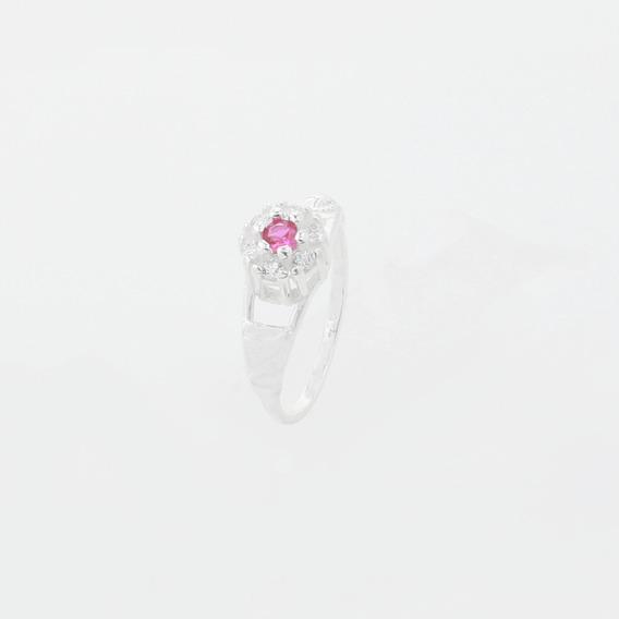 Anel De Formatura Infantil Com Pedra Pink Em Prata 925 6347