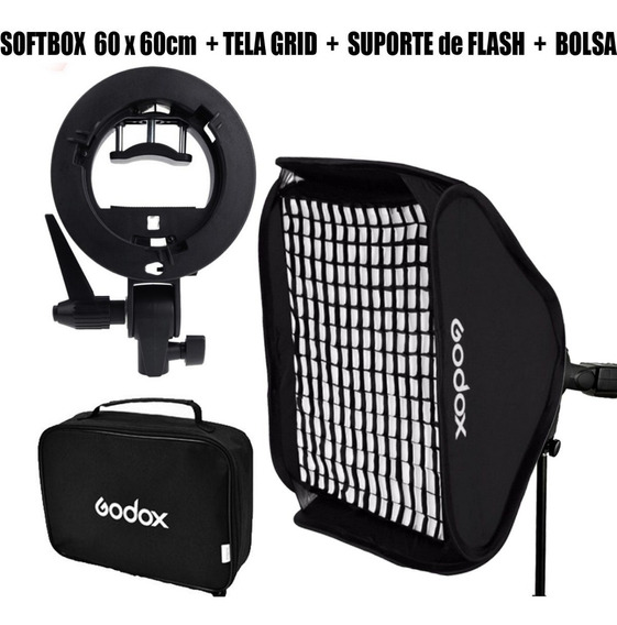 Softbox 60 X 60 + Tela Grid + Suporte De Flash + Bolsa