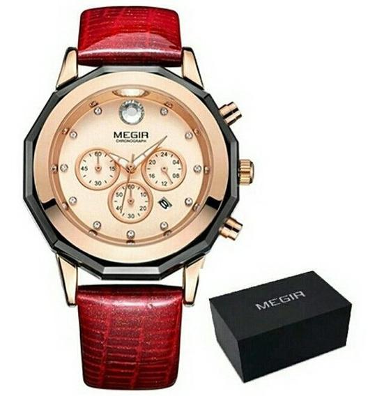 Relógio Megir 2042 Feminino Luxo Pulseira Couro Vermelho