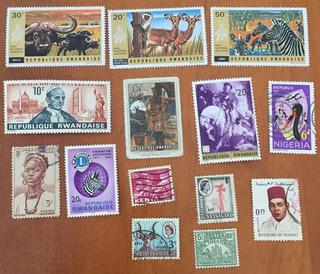 12 Estampillas Ruanda Africa Kenia Nigeria Madagascar Etc