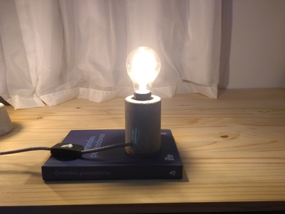 Luminária De Cimento Industrial, Vintage, Retrô