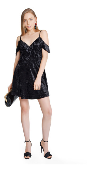Vestido Corto Mujer Terciopelo Cut Shoulder Color Negro Lob