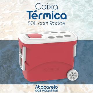 Cooler Térmico Grande Promoção! 50 Litros Com Rodas Vermelho Soprano Praia, Vendedor Ambulante Capacidade 72 Latas 350ml