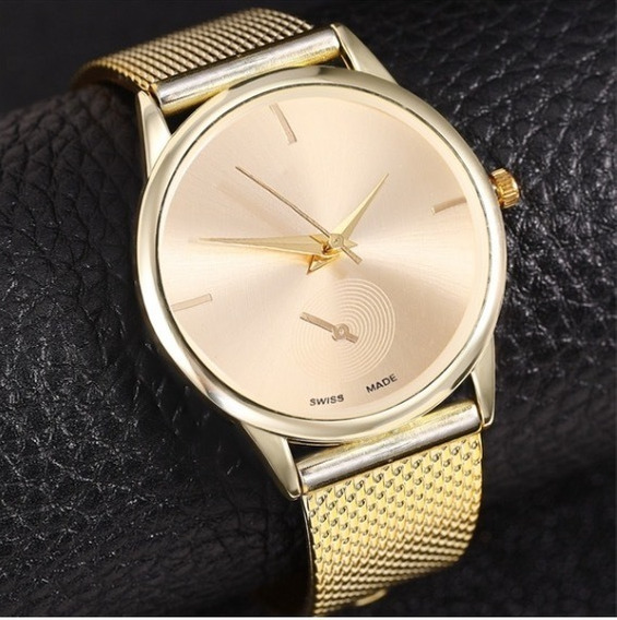 Relógio Feminino Rose Dourado Prateado Preto