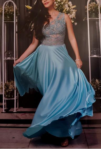 Vestido De Gala Azul Turquesa