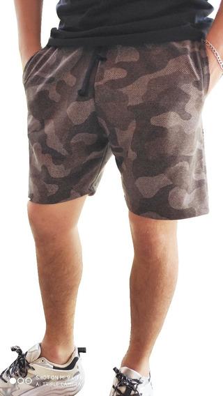 Short Camuflado Militar Hombre Algodon Rustico