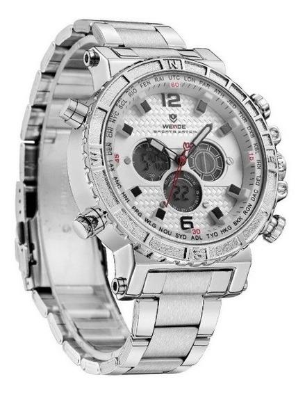 Relógio Masculino Prata Weide Original Garantia De 1 Ano