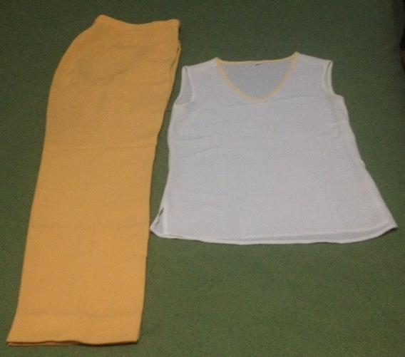 Conjunto Pantalon Y Blusa Dama Talla 8 Nuevo Amarilo- Blanco