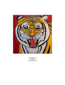 Tela 60x60 Olhar De Tigre V Pintura Em Acrílico
