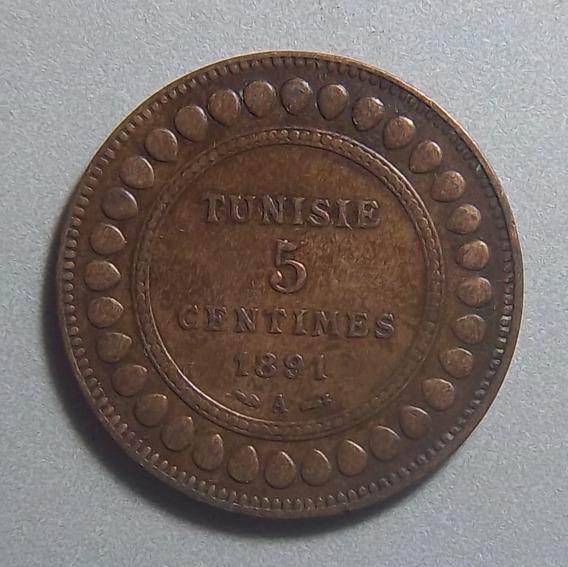 Túnez 5 Centimes 1891 Exc Km 221 Ali Iii Colonia Francesa