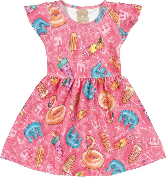Vestido Infantil Colorittá Em Madri Estampado Rosa
