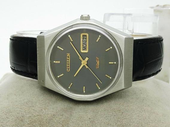 Relógio Citizen Automático Japonês Fundo Grafite 1977 Lindo