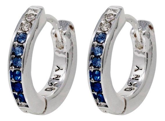 Aretes Dkny Plateados Con Cristales Azul Y Transparent Mujer