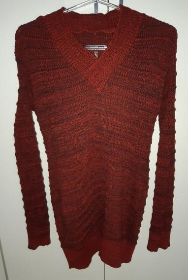 Blusa De Lã Alongada Vermelha Tamanho M