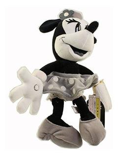 Disney Puf De Peluche Blanco Y Negro Minnie Mickey Mouse Et